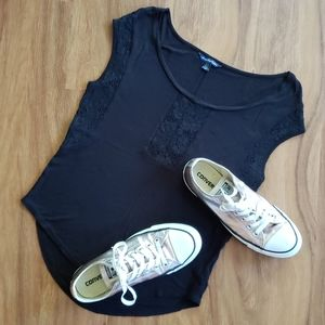 American Eagle Short Sleeve Black Lace Top Size XS
